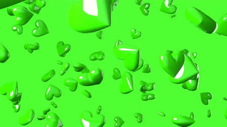 Falling green heart objects in green background. Cute heart-shape abstract animation.