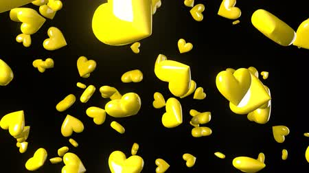 amoroso : Falling yellow heart objects in black background. Cute heart-shape abstract animation.