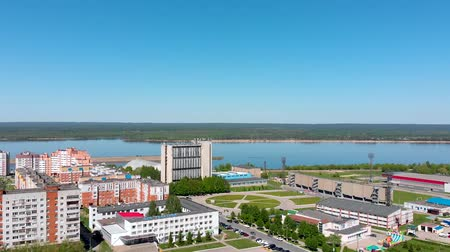 pan shot : City on the river, Novocheboksarsk, Russia, Chuvashia