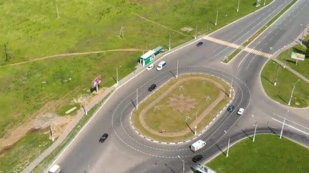 pan shot : Entrance to city, car route, Novocheboksarsk, Russia, Chuvashia, ring road