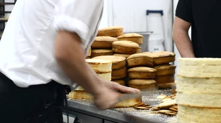 pastry chef cutting the sponge cake on layers. Cake production process. Dostupné videozáznamy