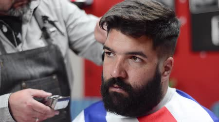 barber scissors : Handsome bearded man getting haircut by hairdresser at the barber shop.