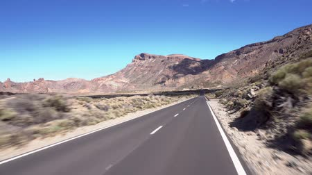 vulkán : Driving on Teide national park, Tenerife, Canary islands.