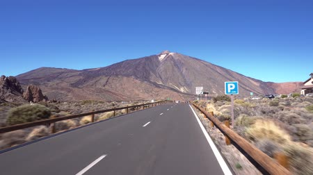 Driving on Teide national park, Tenerife, Canary islands.