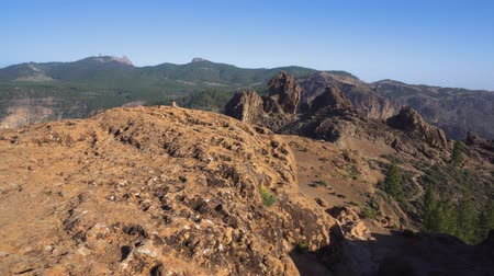 Volcanic mountain landscape in Roque nublo Gran Canaria Canary islands, Spain. Dostupné videozáznamy