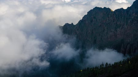 Sea of clouds in mountainous landscape in teide national park, tenerife, Spain.