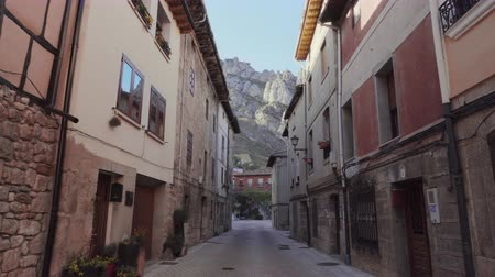 steady cam : POV, walking in medieval village of Pancorbo, Burgos, Spain. First person point of view.