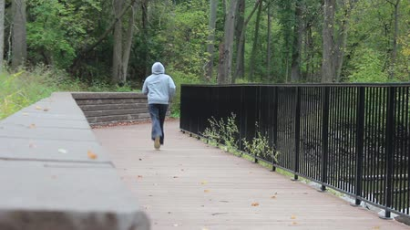 Jogger on a Bridge in the Park Away from Camera