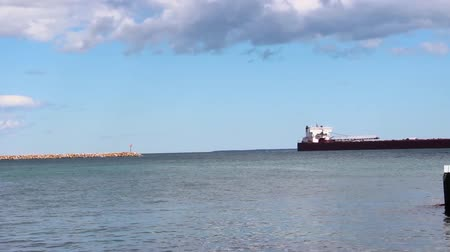 Cargo Freighter in Lake Michigan exiting Frame