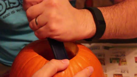Man Gutting Pumpkin Spoon