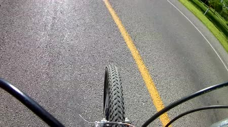 GoPro Bike Riding on Road Camera On Handlebars looking At Tire