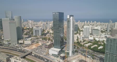 urban scenics : Aerial view of Tel aviv skyline. Urban landscape at daytime with skyscraper view and Sea water in horizon