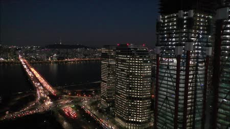 lanscape : a night view of city Stock Footage