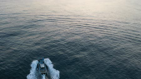 a drone-shot fishing boat Stok Video