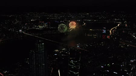 night scape : Seoul fireworks festival Stock Footage