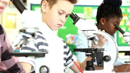в середине : Line of three pupils in science class using microscopes and making notes on their findings