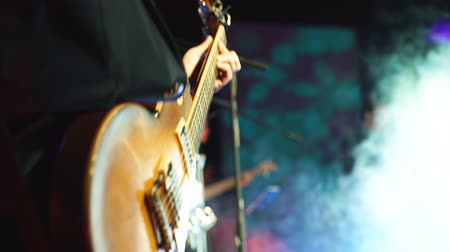 musicians stage : Guitarist playing on stage