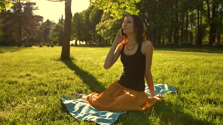 discutir : Front view of a woman sit towards camera talk during a phone call outdoors in the park. Slo-mo static shot. Stock Footage