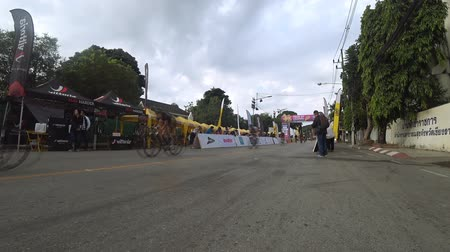 Chiang Rai, Thailand.  December 17, 2017 : Tour of Chiang Rai, The cycling touring road event complying with international standard. Singha - Bangkok airways bicycles racing state 4.