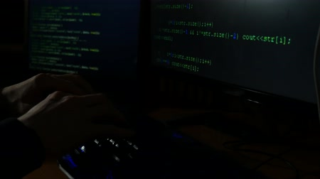 włamywacz : a hacker cracked an Internet code, an attacker was working on his computer Wideo
