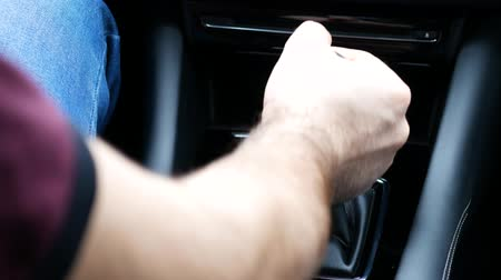 gearstick : gear shift on an automatic transmission Stock Footage