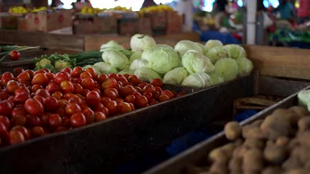Traditional food market stall with variety of organic vegetable