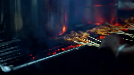 špejle : Grilled Chicken Satay  with Flame and Smoke at Streed food bazaar Dostupné videozáznamy