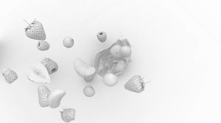 mandarynka : sketch of berries and fruits falling in liquid Wideo