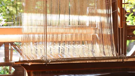 Manual wood loom in Asia