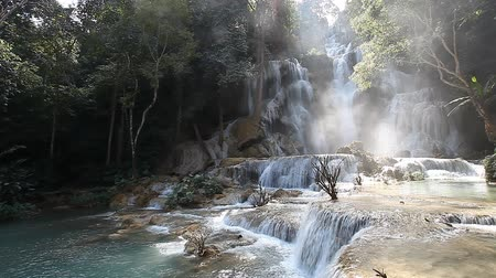 Wonderful Tad Kuang Si Waterfall in Laos Стоковые видеозаписи