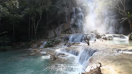 Kuang Si Waterfall, Luang prabang, Laos Stok Video