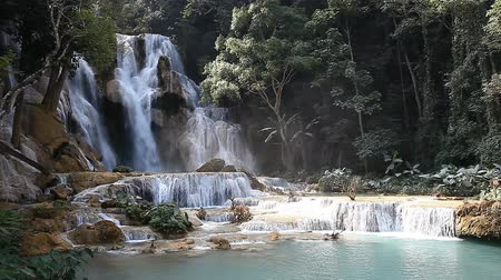 Wonderful Tad Kuang Si Waterfall in Laos Vidéos Libres De Droits