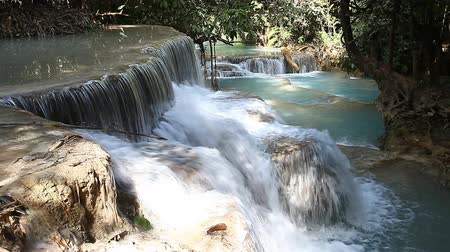 Wonderful Tad Kuang Si Waterfall in Laos Stok Video