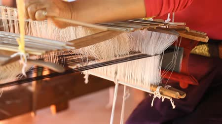 Traditional wooden loom in Asia close-up