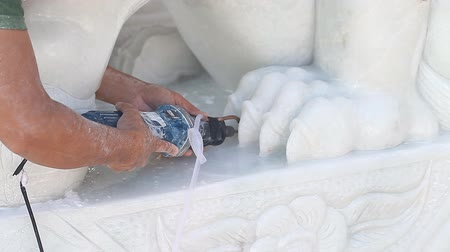 Sculptor works with marble Стоковые видеозаписи
