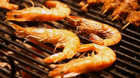 Large shrimp cooked on a barbecue