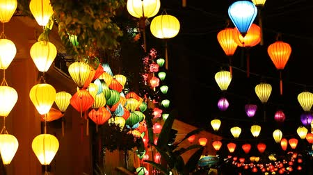 Tourist Vietnam, Hoi An and paper lanterns Stok Video