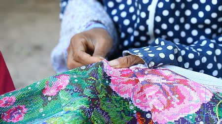 Traditional art of handmade embroidery in Asia Stock Footage
