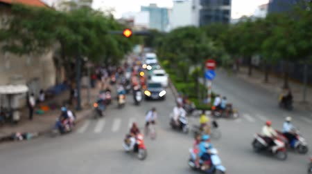 Chaotic traffic on the roads of Asian cities. Blur footage