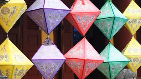 ритуал : Traditional paper lanterns. Painting decorations popular in Asia Стоковые видеозаписи