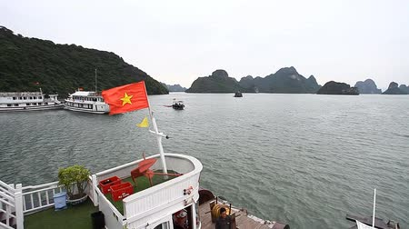 socialist republic : Flag of Vietnam on board the Dragon Boat Stock Footage