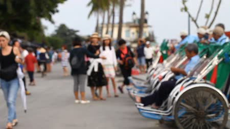 Trishaws in Asia - a popular way of movement at rich tourists Stok Video