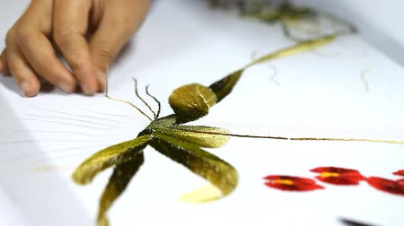 Traditional art of handmade embroidery in Asia Stok Video