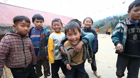 sapa people : Sapa, Vietnam - December 01, 2016 : Ethnic minority children at school.The building serves as a kindergarten for children from nearby villages.