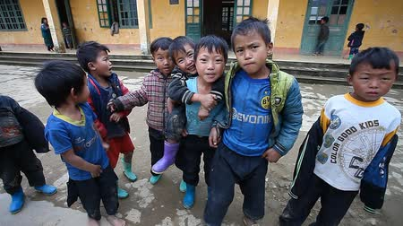 minority group : Sapa, Vietnam - December 01, 2016 : Ethnic minority children at school.The building serves as a kindergarten for children from nearby villages.