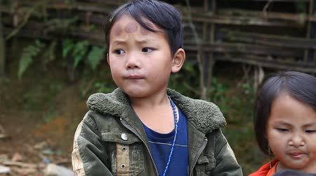 харизматический : Sapa, Vietnam - November 30, 2016 :Children from the ethnic group of black Hmong live in poverty in villages located in the vicinity of Sapa