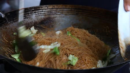 Asian Street food. Fried rice noodles traditional and popular dish in Asia