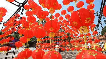 Çin mahallesi : Paper lanterns, Chinese lanterns, Asian culture. Festival of Chinese Culture Stok Video