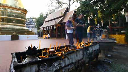 peregrino : Many prayer spiritual candles in the Thai temple.Traditions Of Buddhism.Faith and religion.Prayer
