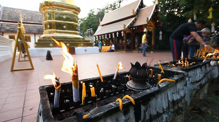 hacı : Many prayer spiritual candles in the Thai temple.Traditions Of Buddhism.Faith and religion.Prayer
